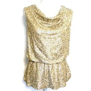Clues Collections Gold Sequin Blouse size medium